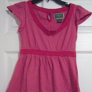 US Polo Assn Red White Striped S/S Empire Top Sz S